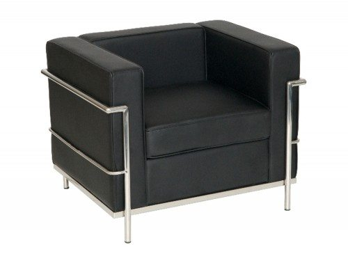 Corbusier Style Armchair in Black Eco Leather