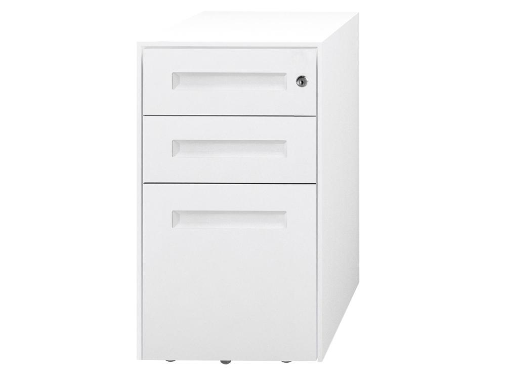 SPECTRUM Steel Narrow Mobile Pedestal 2 Personal drawers 1 File drawer 500 x 300 x 597 mm White white SMS3521-White