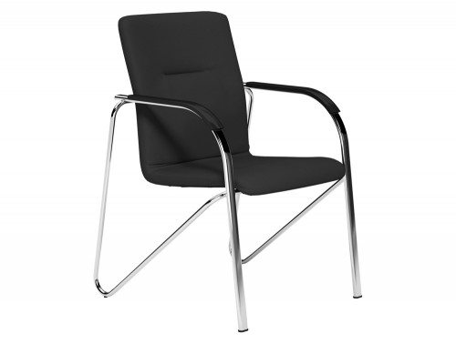 Sandy  Boardroom Stacking Chair Chrome Frame Black Arms in E001 Black