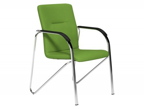 Sandy  Boardroom Stacking Chair Chrome Frame Black Arms in E051 Green