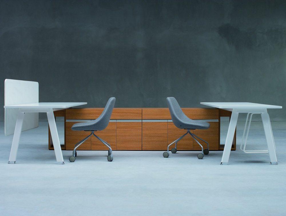 Simplic Executive Desk with Credenza Unit in White