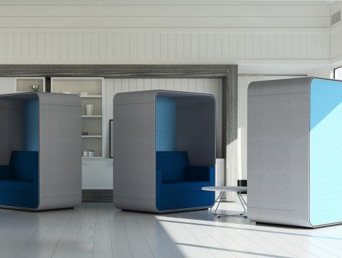 Snug Sofa Booth with Roof in an Office Environment