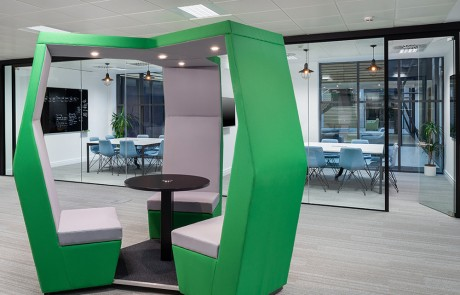 Social-Talent-Office-Breakout-Area-Layout-JDD-Bill-Green-3-Seater-Meeting-Pod-with-Coffee-Table-and-Overhead-LED-Lights-