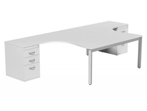 Switch 2 Person Crescent Desk & Desk High Cabinet Open Leg WHT-WH-TT-1-1612 in White