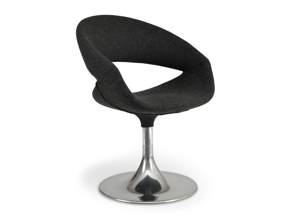 Grace Lounge Chair - Upholstered Seat - Chrome Trumpet Base