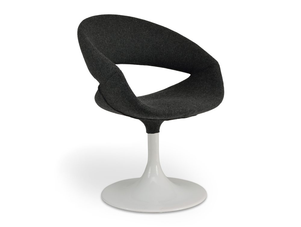 Grace Lounge Chair - Upholstered Seat -  White Trumpet Base