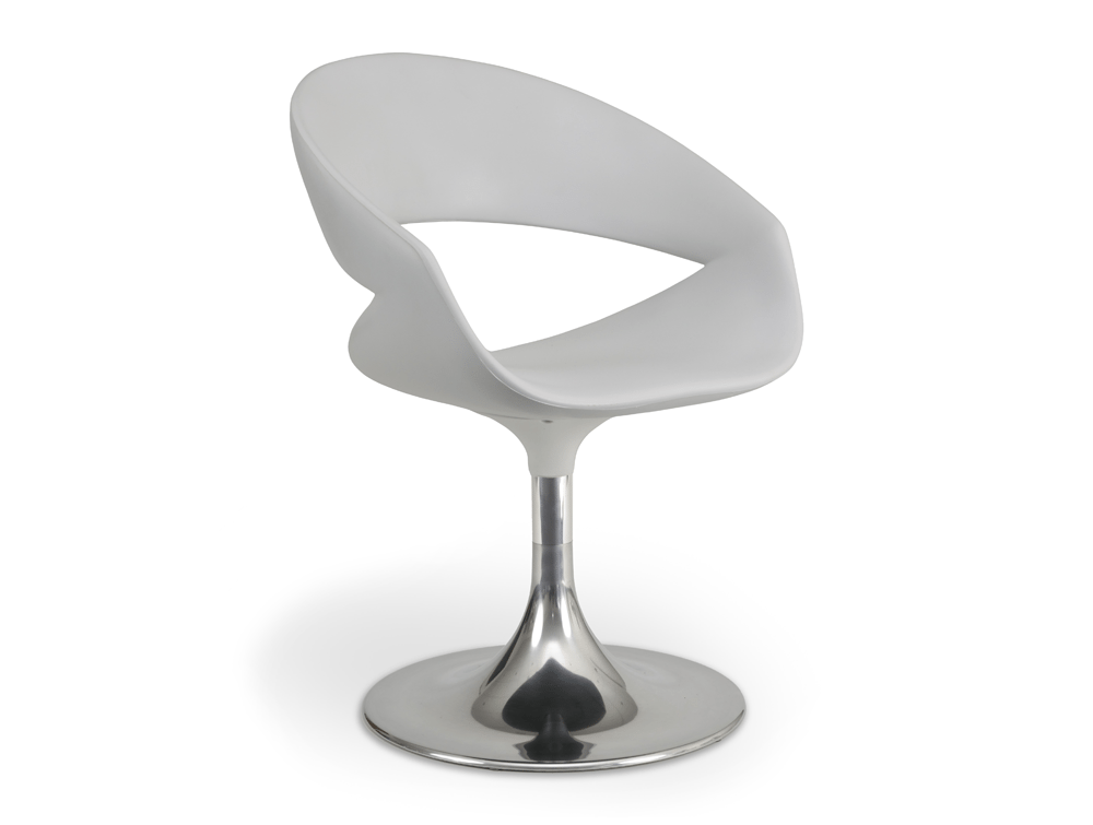 Grace Lounge Chair - Plastic Seat - Chrome Trumpet Base
