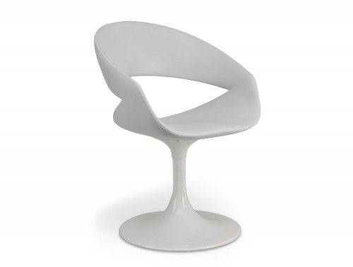 TG10707WH Grace Lounge Chair with White Trumpet Base and Plastic Seat