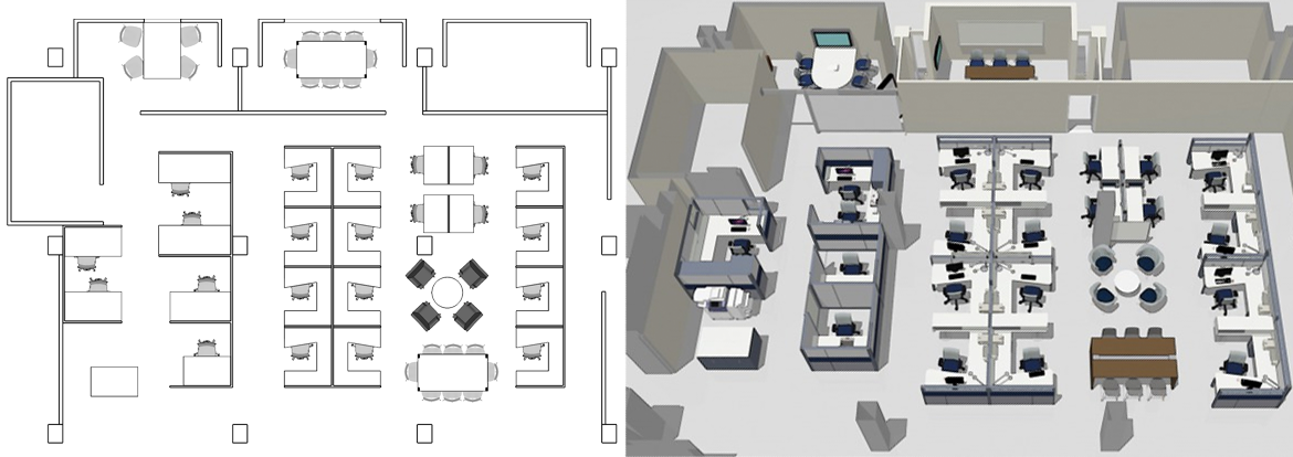 Office layout design space planning radius office for Office furniture layout planner