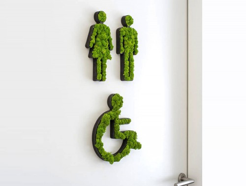 styleGreen-Pictogram-Green-Moss-Male-Female-and-Disabled-Toilet-Signs-with-Reindeer-Moss-in-Situ